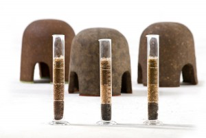 Terra stools with ingridient tubes, photo by Shay Ben-Efraim